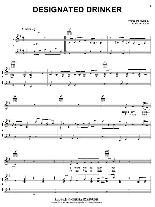 Alan Jackson Designated Drinker sheet music notes and chords