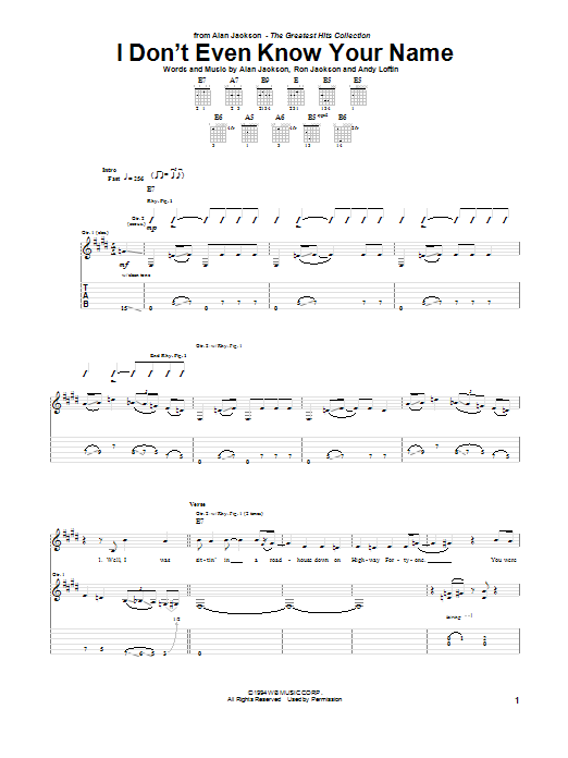 Alan Jackson I Don't Even Know Your Name sheet music notes and chords. Download Printable PDF.