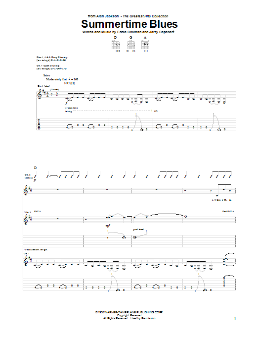 Alan Jackson Summertime Blues sheet music notes and chords. Download Printable PDF.