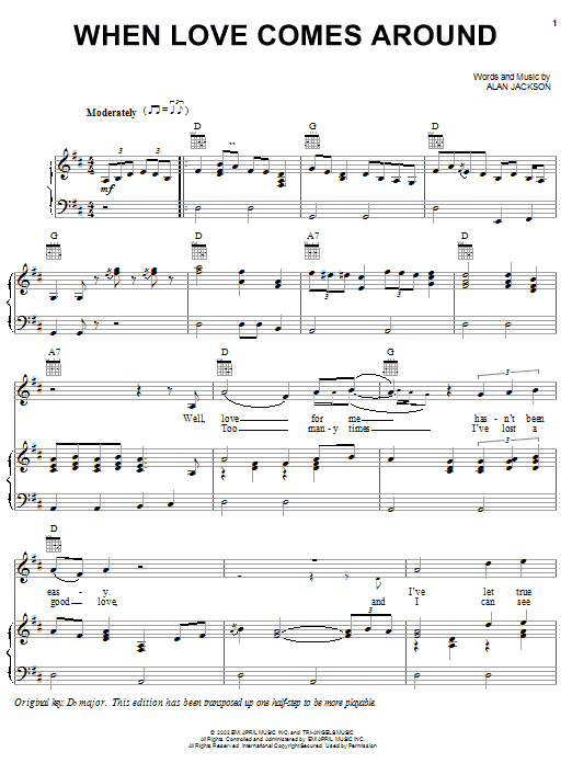 Alan Jackson When Love Comes Around sheet music notes and chords