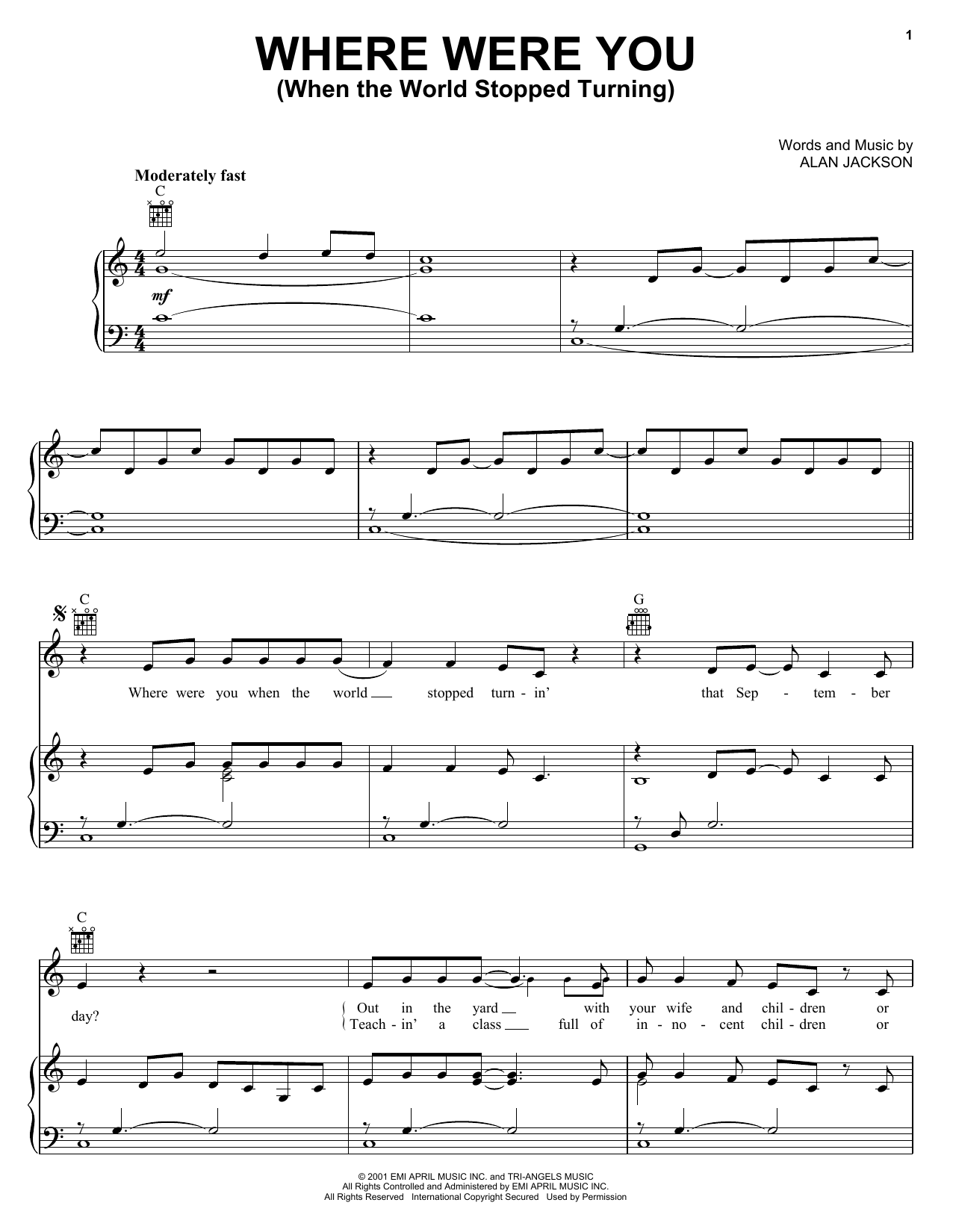 Alan Jackson Where Were You (When The World Stopped Turning) sheet music notes and chords