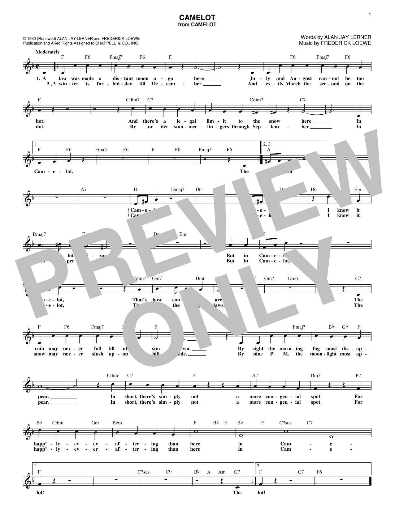Alan Jay Lerner Camelot sheet music notes and chords. Download Printable PDF.