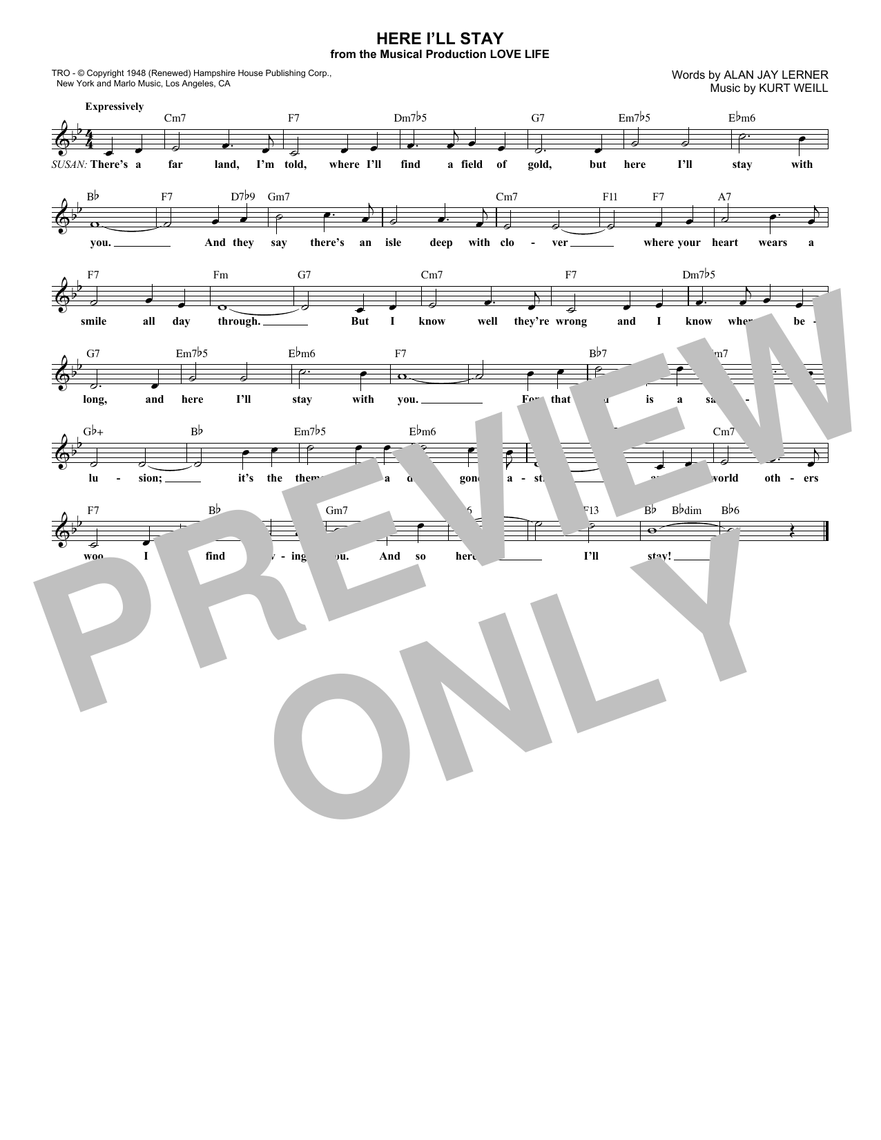 Alan Jay Lerner Here I'll Stay sheet music notes and chords. Download Printable PDF.