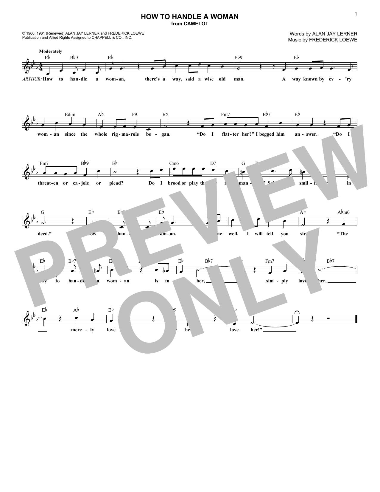 Alan Jay Lerner How To Handle A Woman sheet music notes and chords. Download Printable PDF.