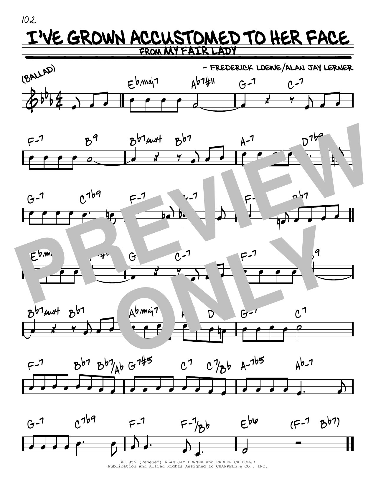 Alan Jay Lerner I've Grown Accustomed To Her Face sheet music notes and chords. Download Printable PDF.