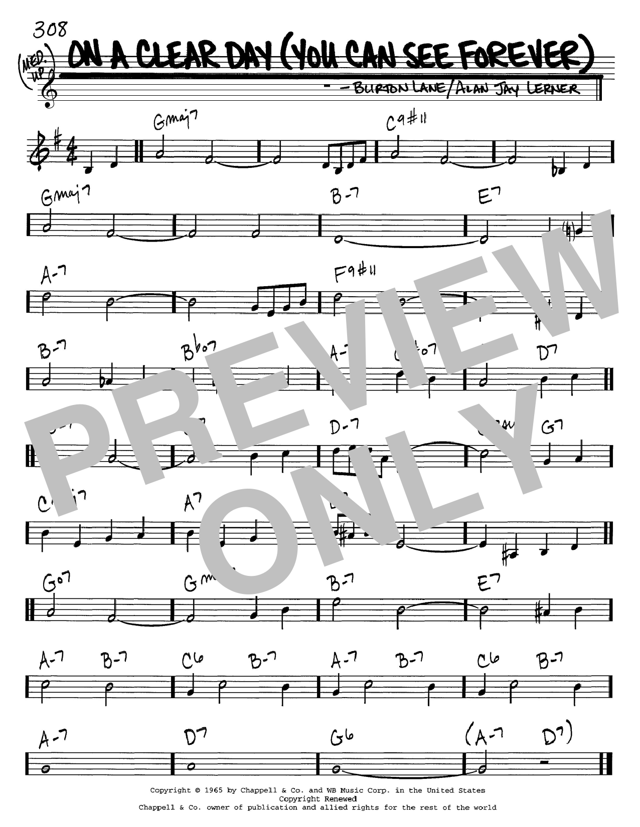Alan Jay Lerner On A Clear Day (You Can See Forever) sheet music notes and chords. Download Printable PDF.