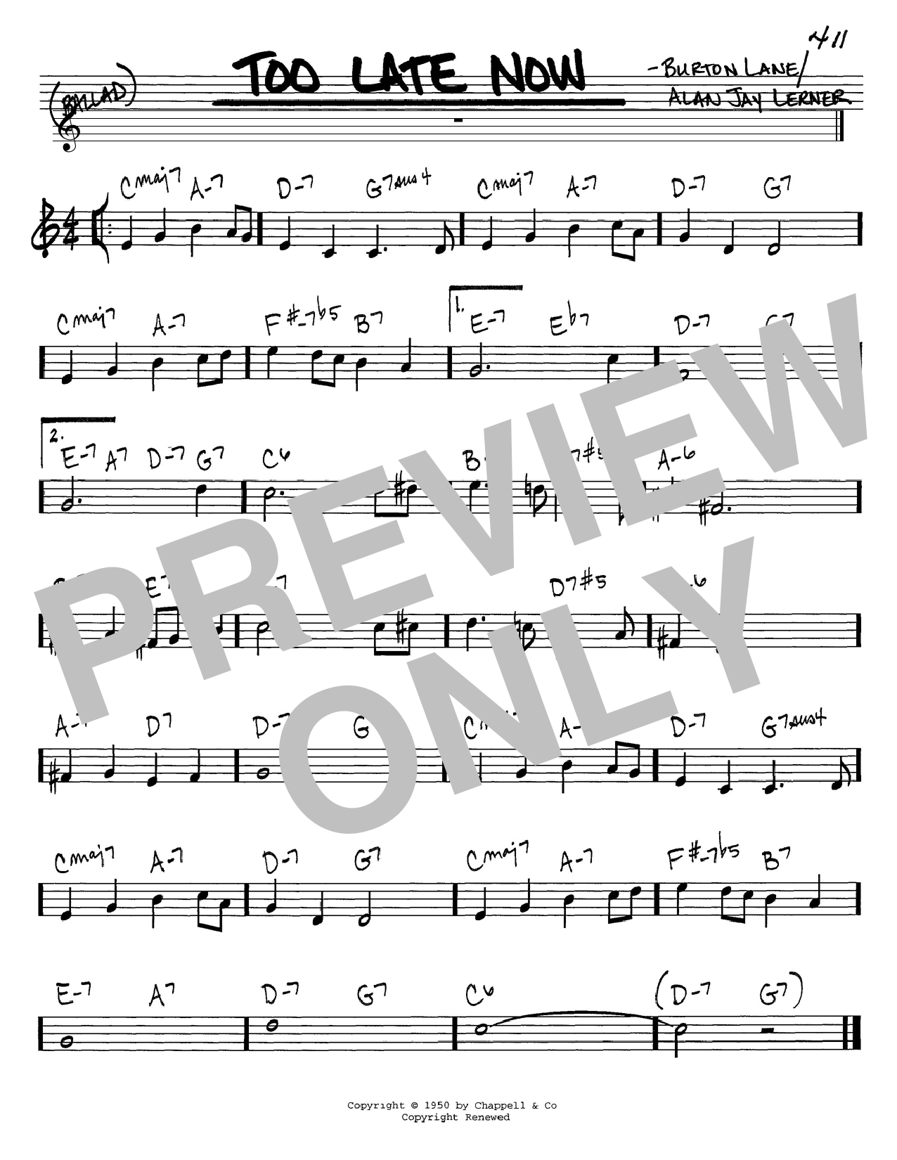 Alan Jay Lerner Too Late Now sheet music notes and chords