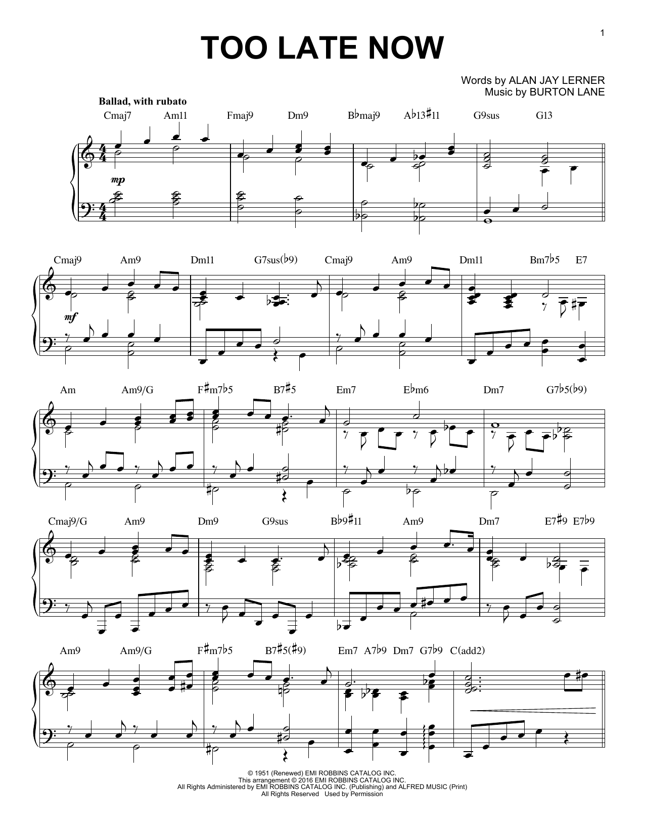 Alan Jay Lerner Too Late Now [Jazz version] (arr. Brent Edstrom) sheet music notes and chords
