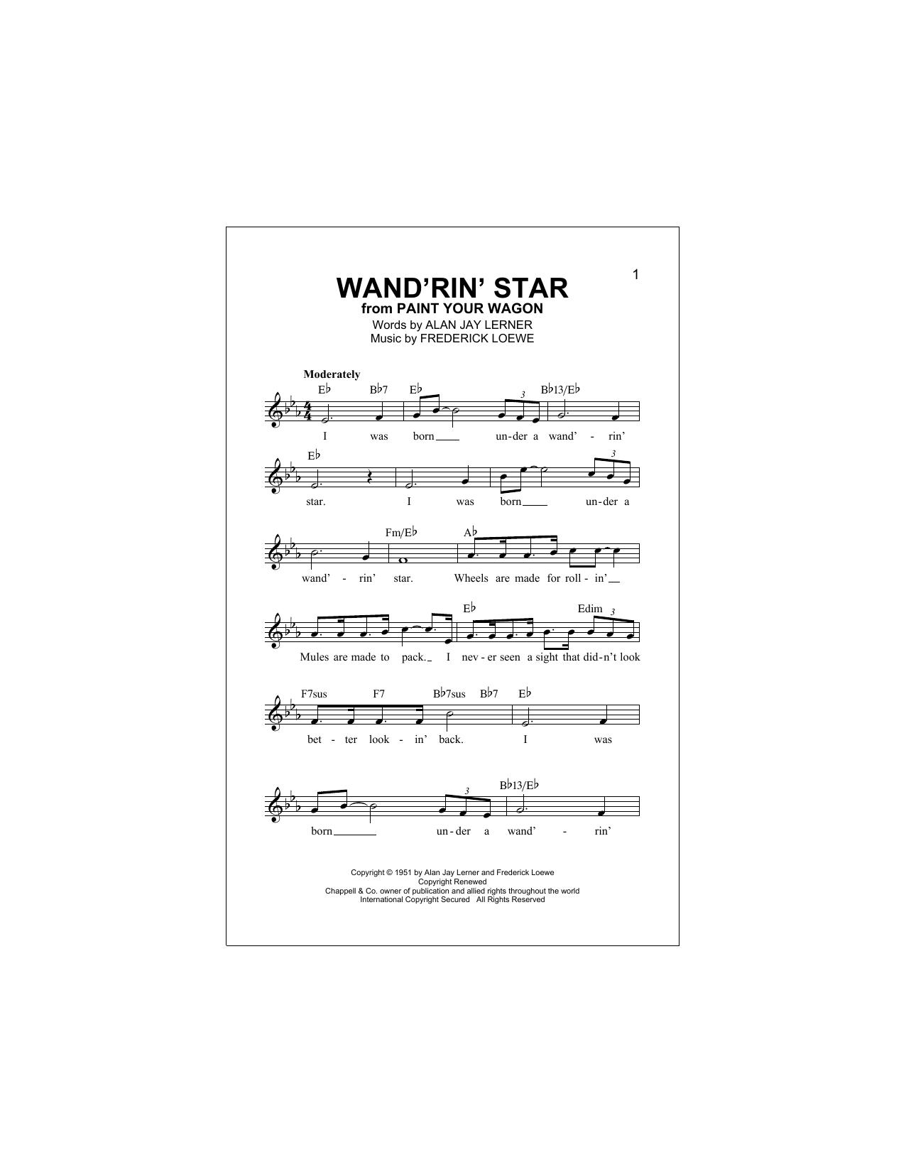 Alan Jay Lerner Wand'rin' Star sheet music notes and chords. Download Printable PDF.