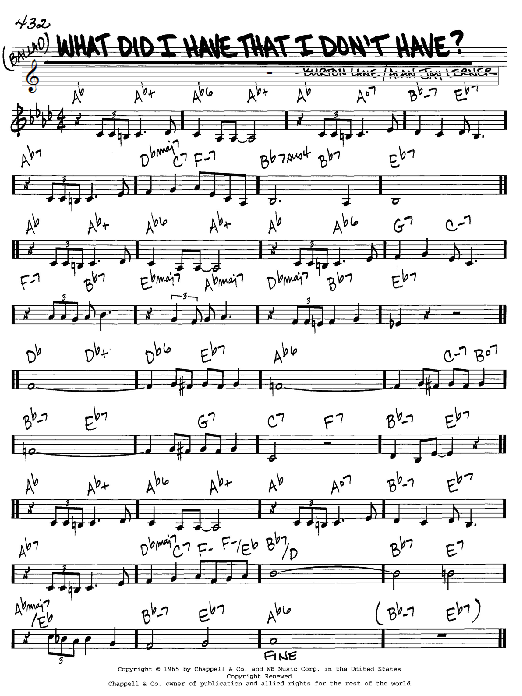Alan Jay Lerner What Did I Have That I Don't Have? sheet music notes and chords. Download Printable PDF.