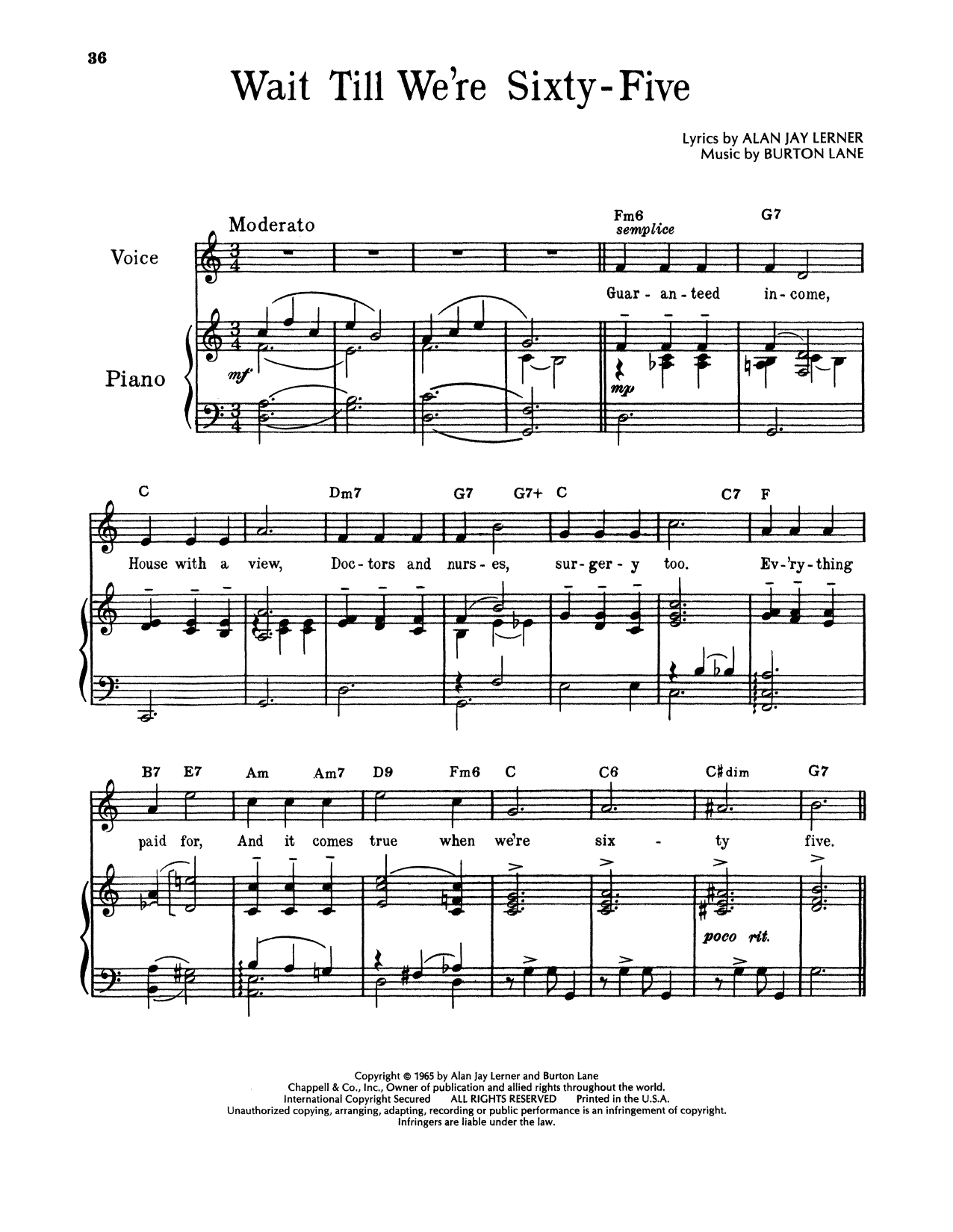 Alan Jay Lerner & Burton Lane Wait Till We're Sixty Five (from On A Clear Day You Can See Forever) sheet music notes and chords. Download Printable PDF.