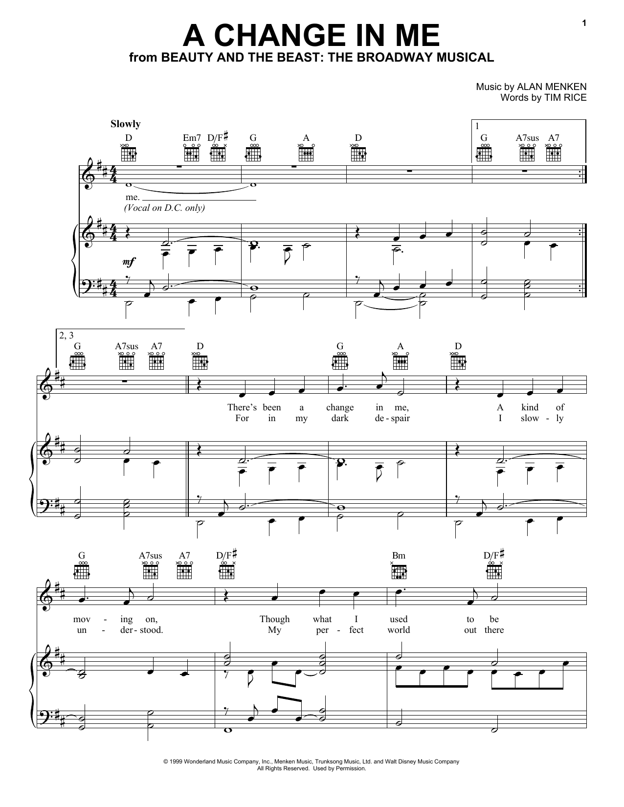 Alan Menken A Change In Me (from Beauty and the Beast: The Musical) sheet music notes and chords. Download Printable PDF.