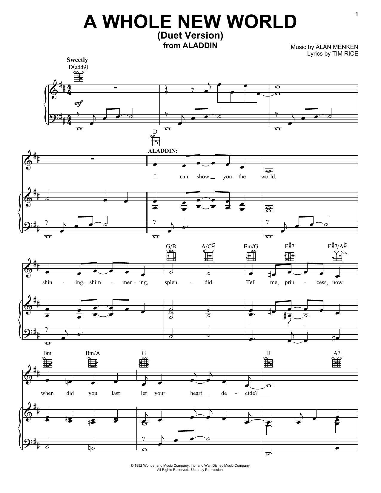 Alan Menken A Whole New World (Duet Version) (from Aladdin) sheet music notes and chords