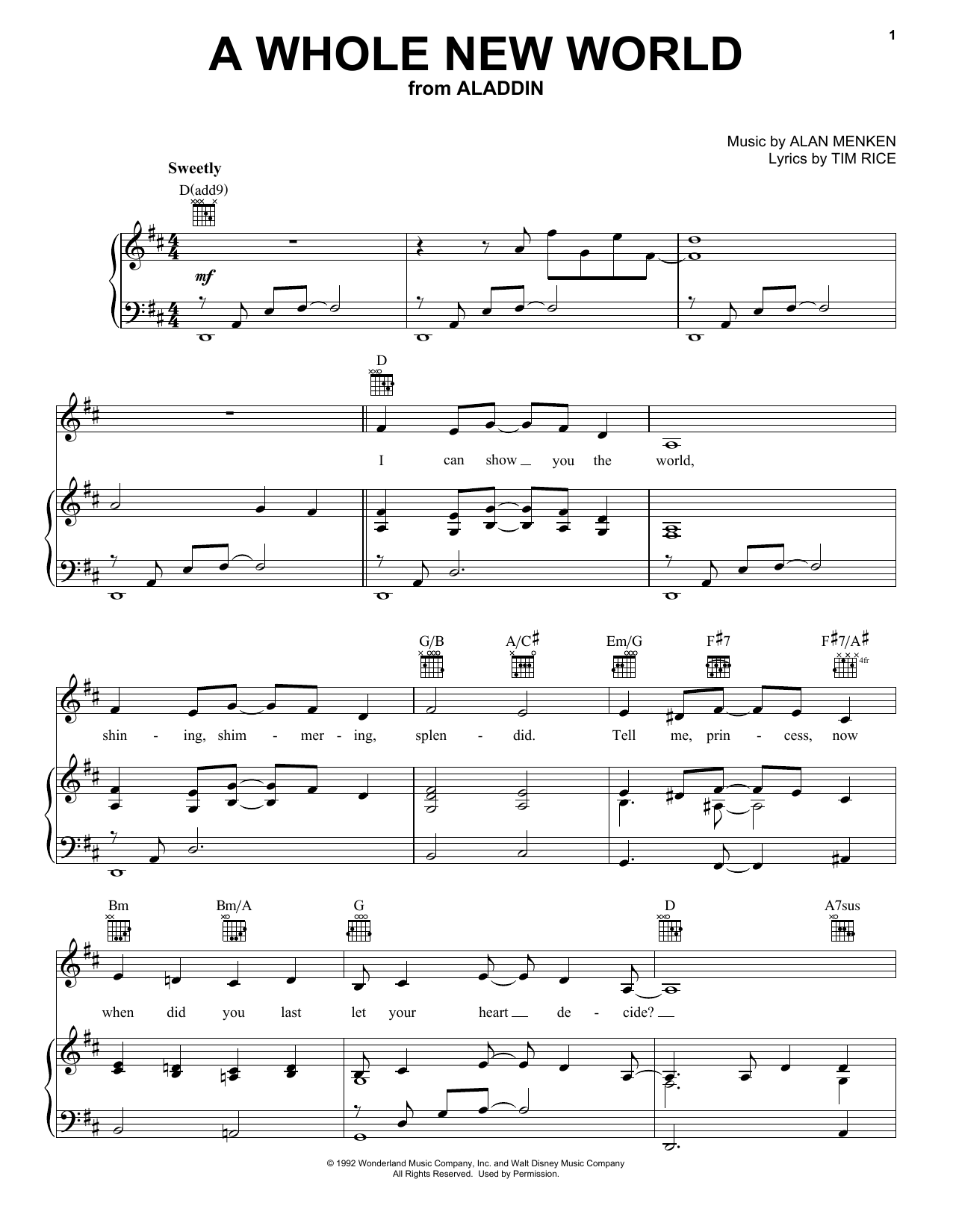 Alan Menken A Whole New World (from Aladdin) sheet music notes and chords