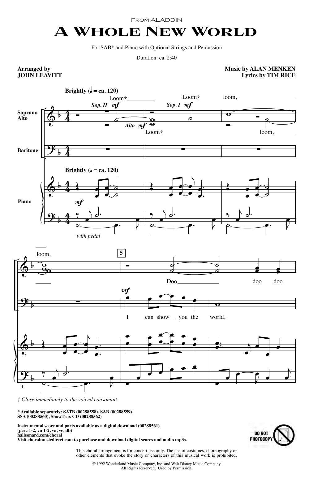 Alan Menken A Whole New World (from Aladdin) (arr. John Leavitt) sheet music notes and chords. Download Printable PDF.