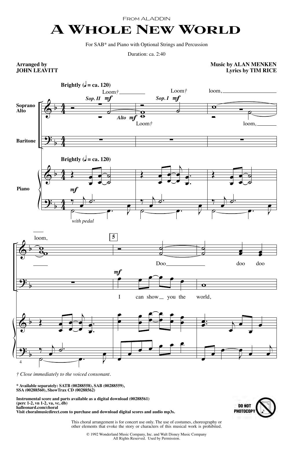 Alan Menken A Whole New World (from Aladdin) (arr. John Leavitt) sheet music notes and chords. Download Printable PDF.