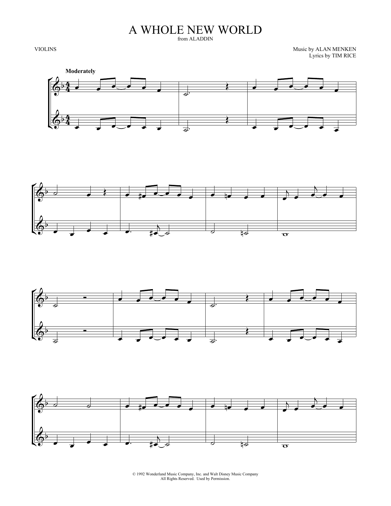 Alan Menken A Whole New World (from Aladdin) (arr. Mark Phillips) sheet music notes and chords