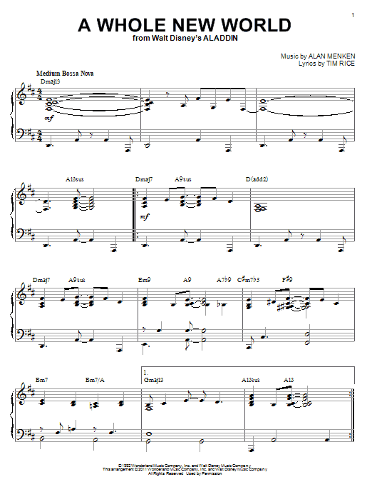 Alan Menken A Whole New World [Jazz version] (from Disney's Aladdin) (arr. Brent Edstrom) sheet music notes and chords. Download Printable PDF.