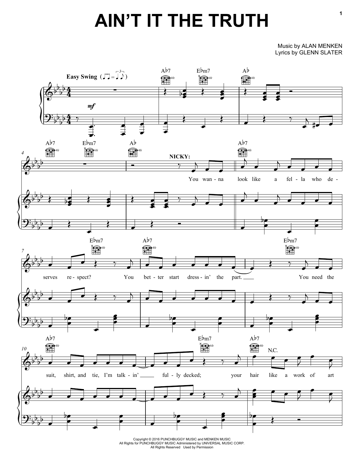 Alan Menken Ain't It The Truth sheet music notes and chords. Download Printable PDF.