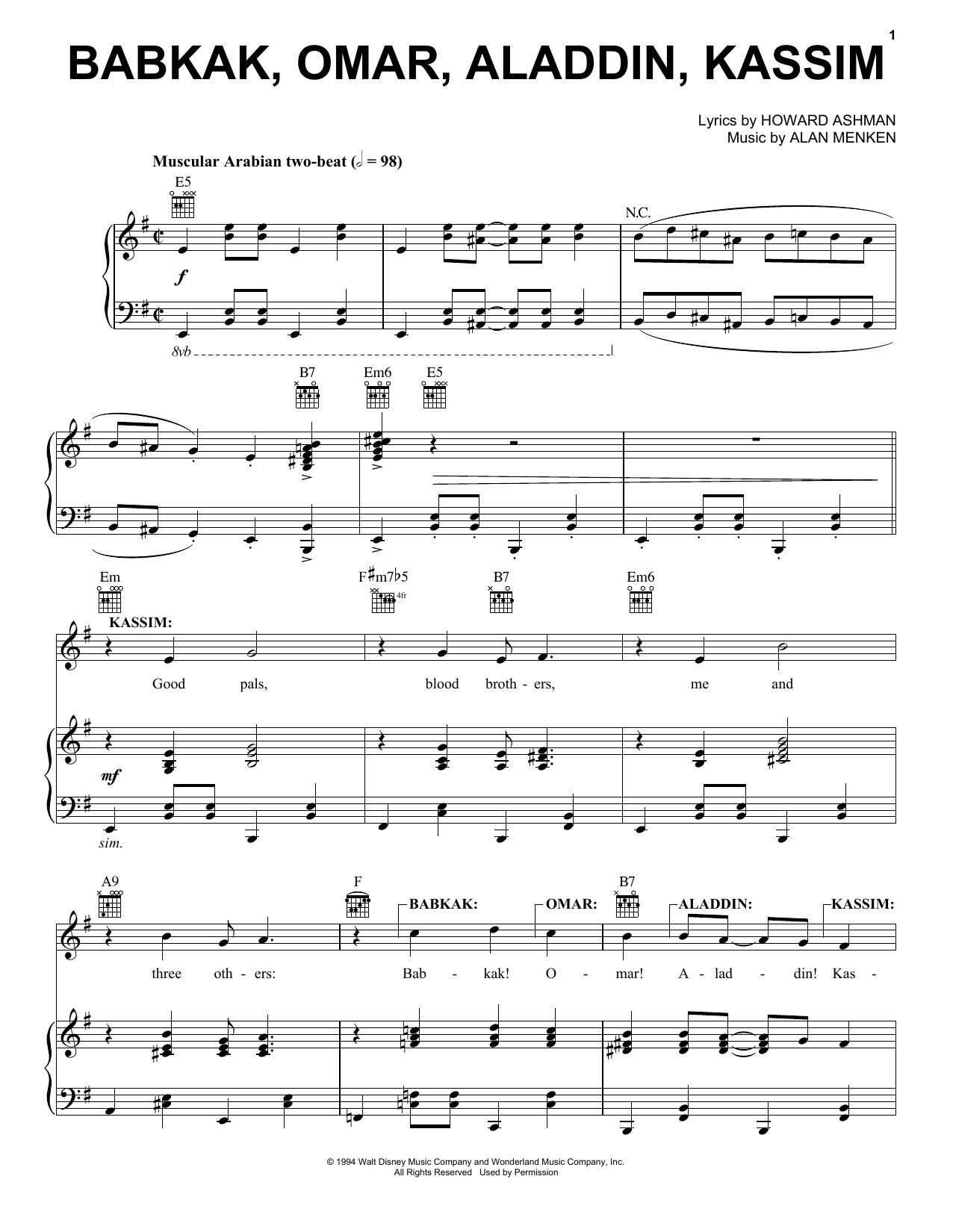 Alan Menken Babkak, Omar, Aladdin, Kassim (from Aladdin: The Broadway Musical) sheet music notes and chords