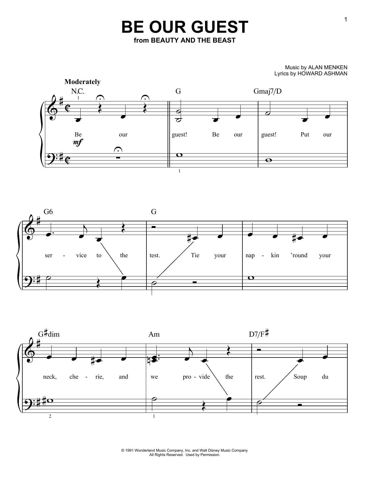 Alan Menken Be Our Guest (from Beauty And The Beast) sheet music notes and chords. Download Printable PDF.