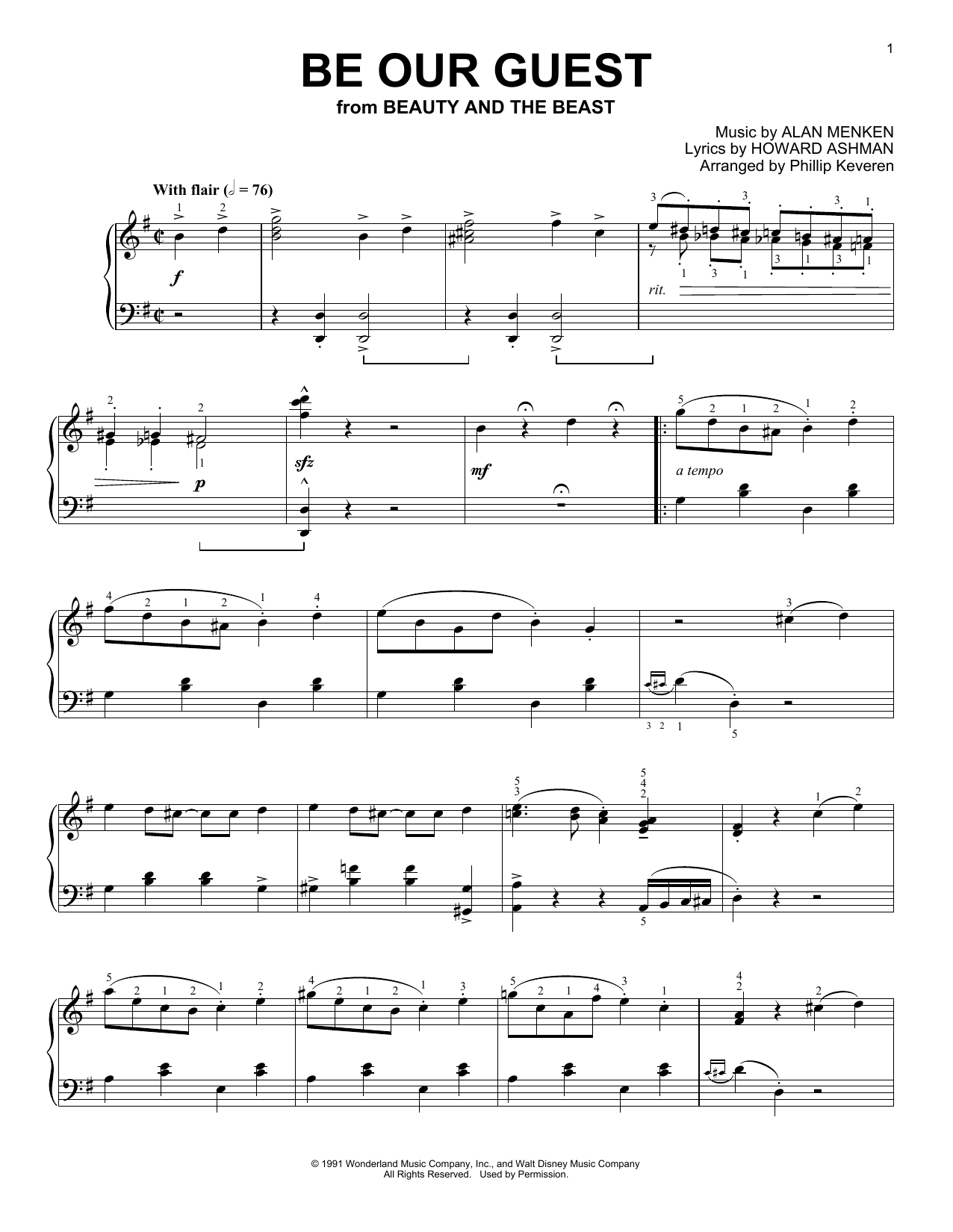 Alan Menken Be Our Guest [Ragtime version] (from Beauty And The Beast) (arr. Phillip Keveren) sheet music notes and chords. Download Printable PDF.
