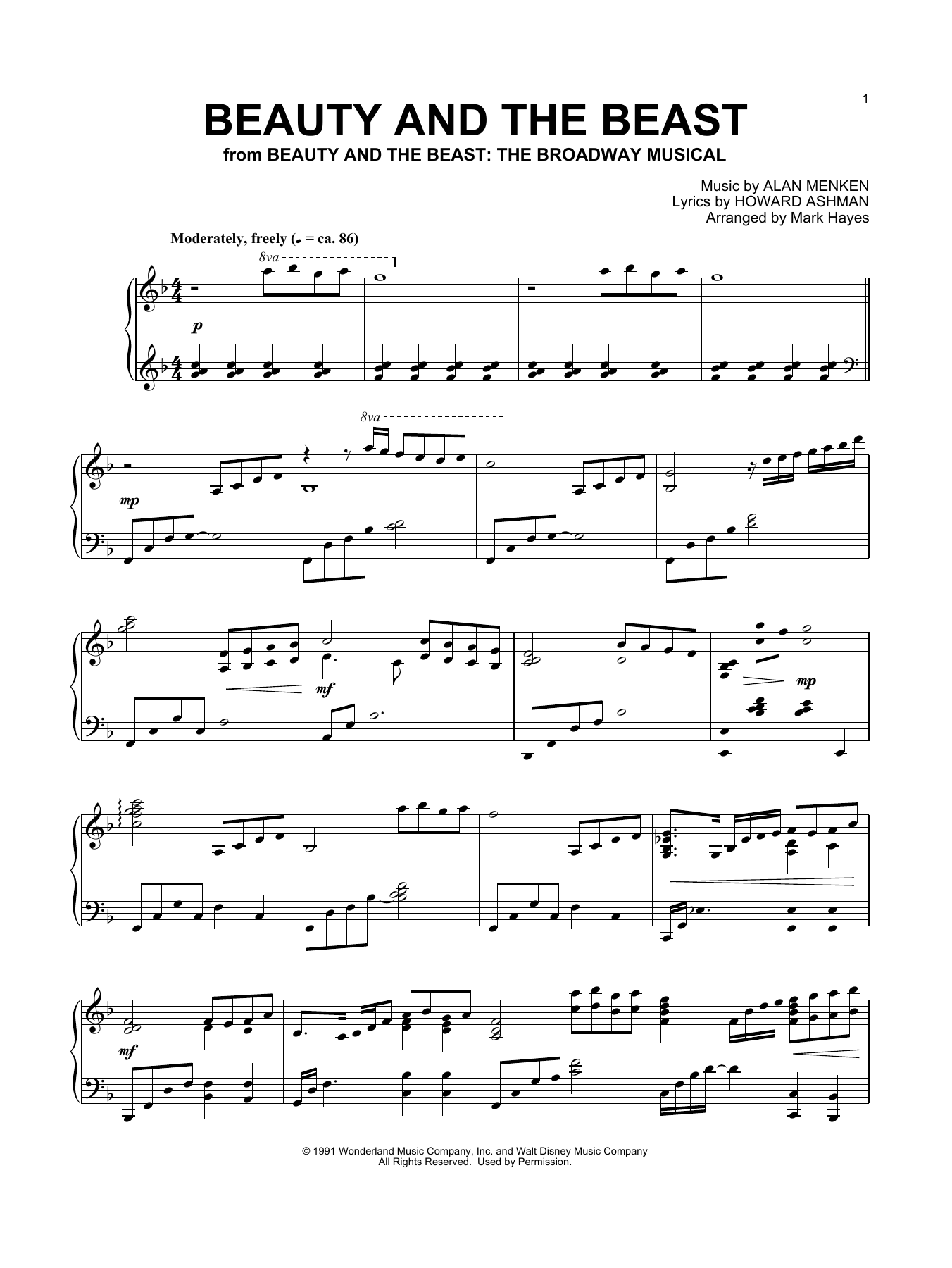 Alan Menken Beauty And The Beast (arr. Mark Hayes) sheet music notes and chords. Download Printable PDF.