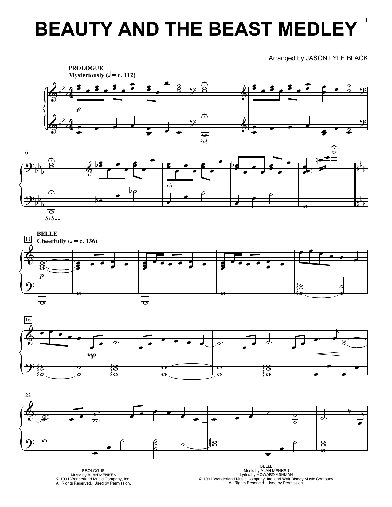 Jason Lyle Black Beauty And The Beast Medley sheet music notes and chords