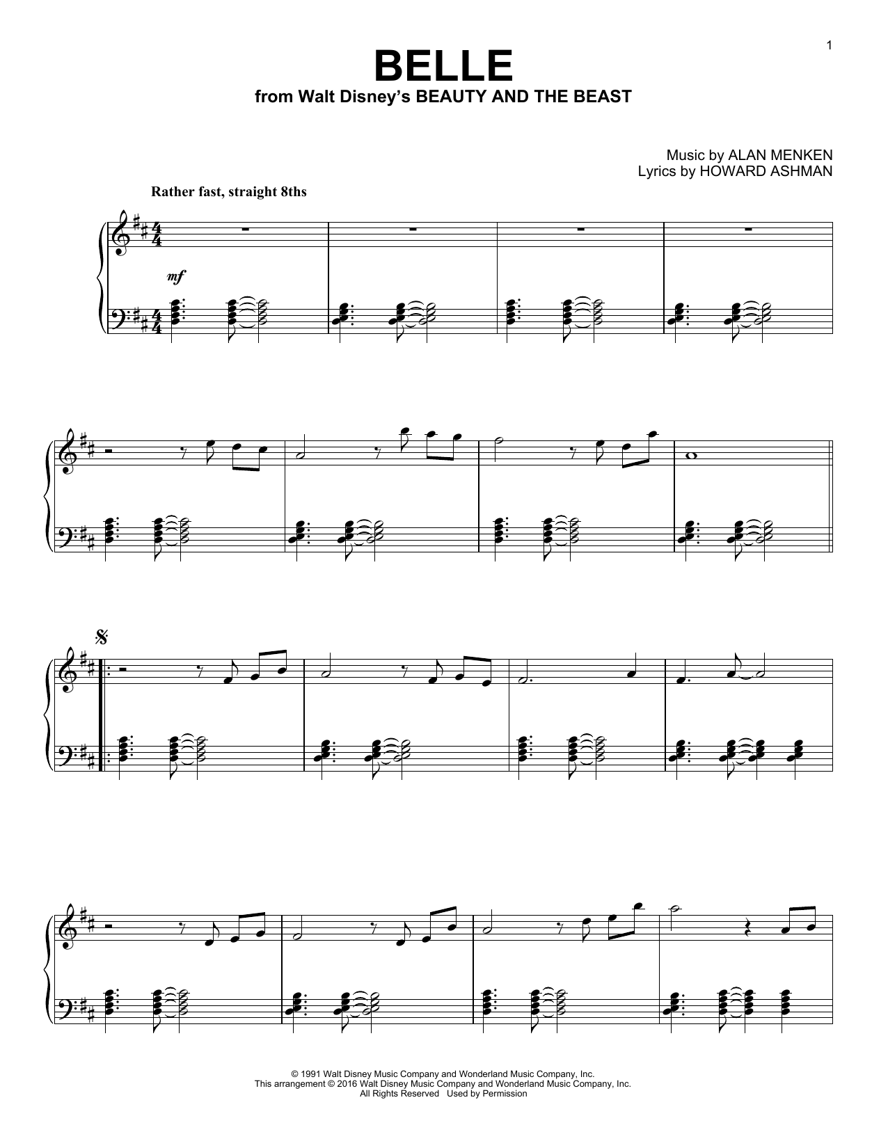 Alan Menken Belle [Jazz version] (from Beauty And The Beast) sheet music notes and chords. Download Printable PDF.