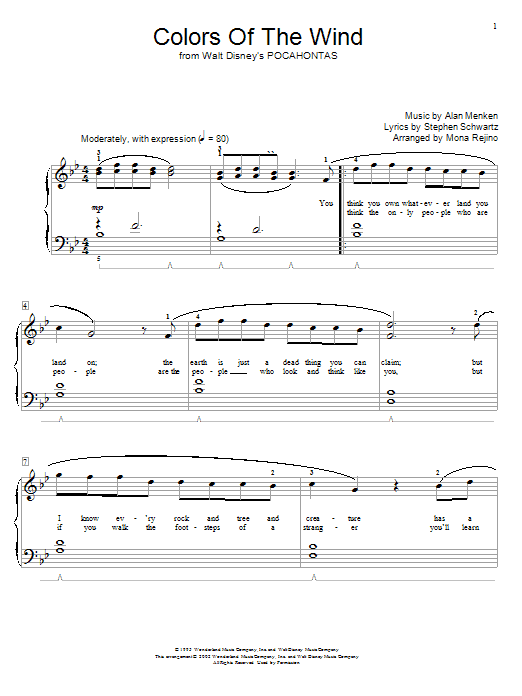 Alan Menken Colors Of The Wind sheet music notes and chords. Download Printable PDF.