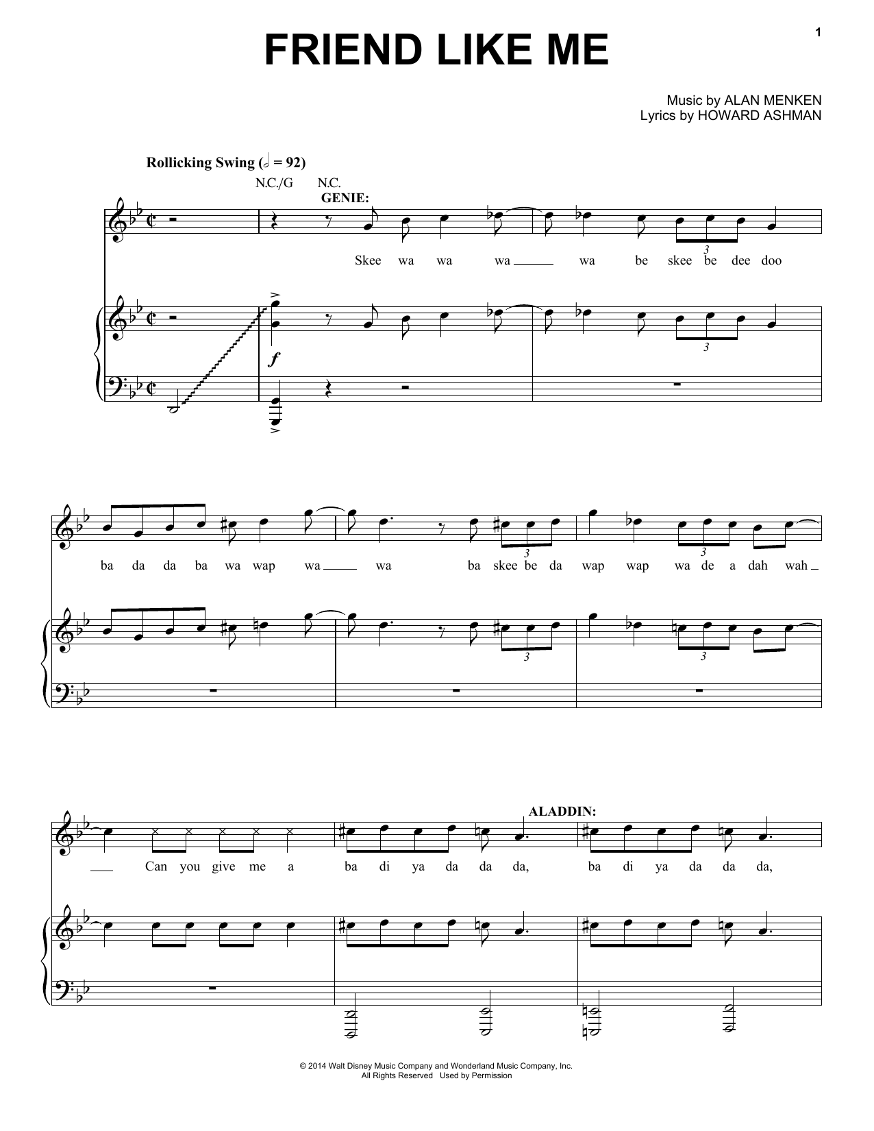 Alan Menken Friend Like Me (from Aladdin: The Broadway Musical) sheet music notes and chords. Download Printable PDF.