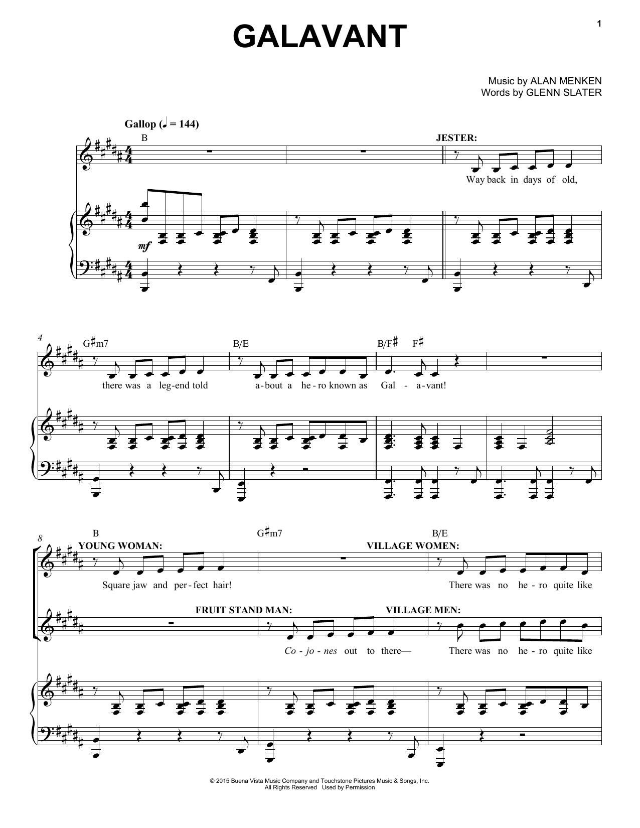 Alan Menken Galavant sheet music notes and chords. Download Printable PDF.