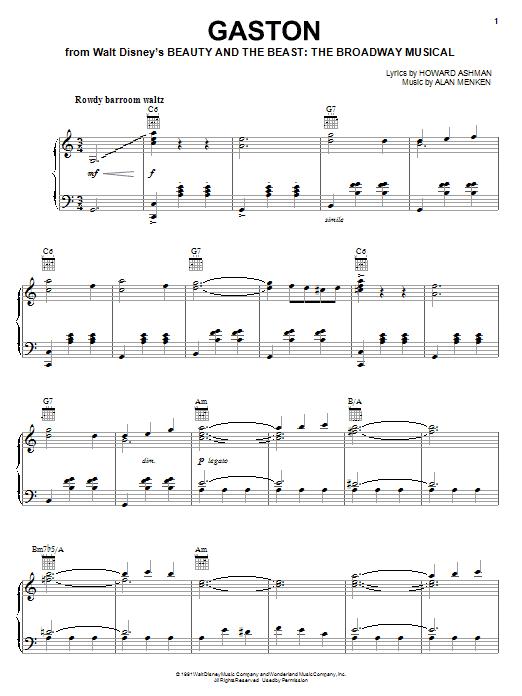 Alan Menken Gaston sheet music notes and chords