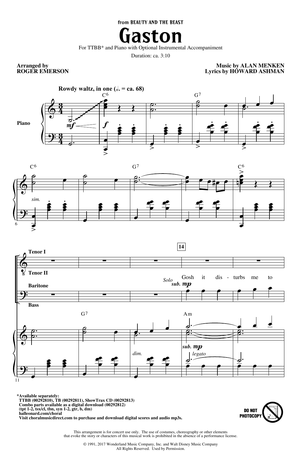 Alan Menken Gaston (from Beauty and The Beast) (arr. Roger Emerson) sheet music notes and chords