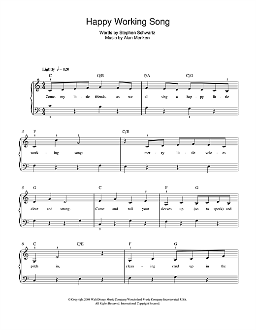 Alan Menken Happy Working Song (from Enchanted) sheet music notes and chords. Download Printable PDF.