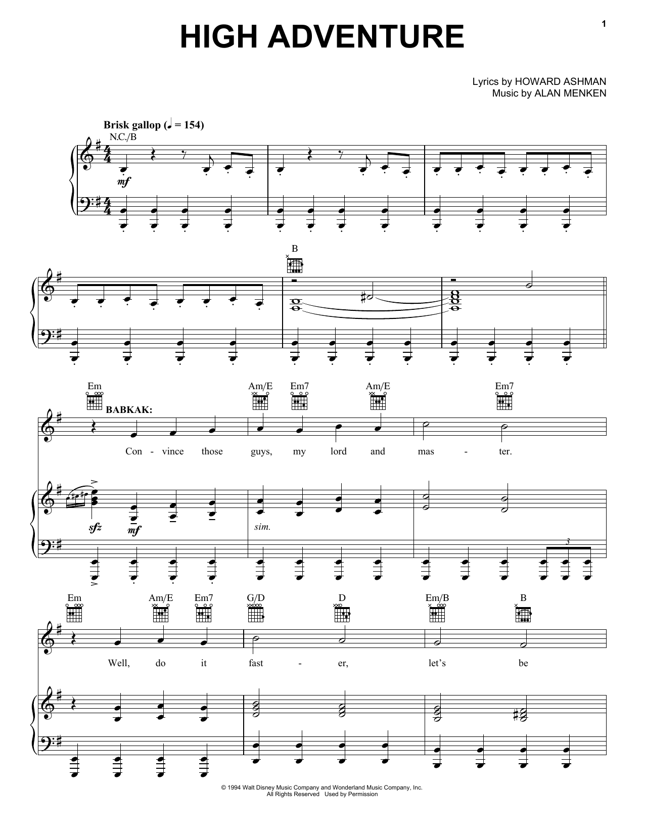 Alan Menken High Adventure (from Aladdin: The Broadway Musical) sheet music notes and chords. Download Printable PDF.