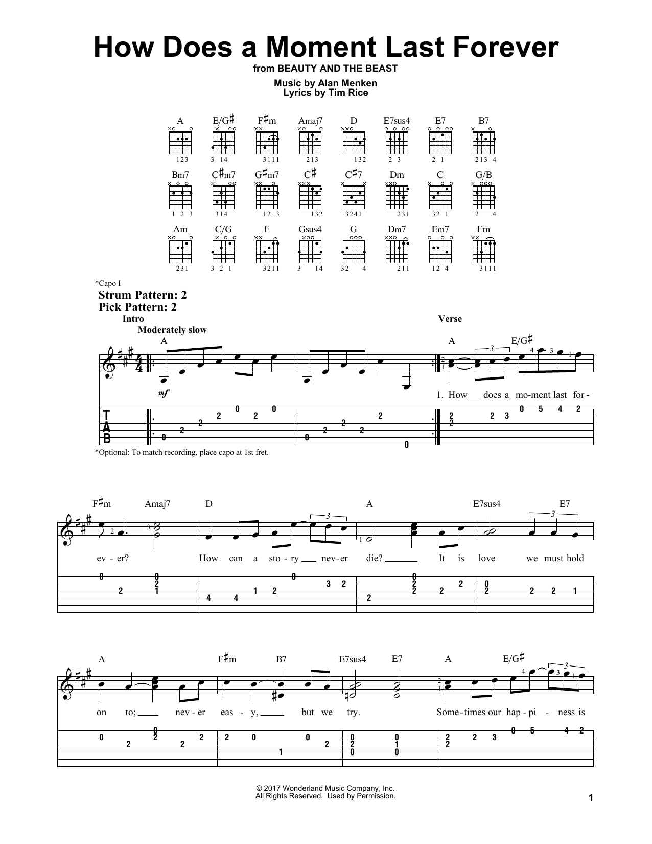 Alan Menken How Does A Moment Last Forever (from Beauty and The Beast) sheet music notes and chords. Download Printable PDF.