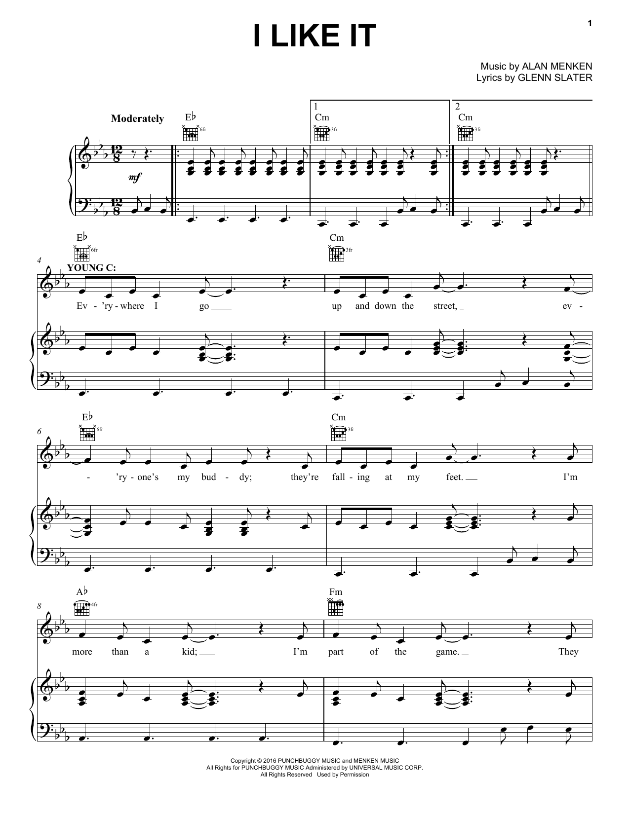 Alan Menken I Like It sheet music notes and chords. Download Printable PDF.
