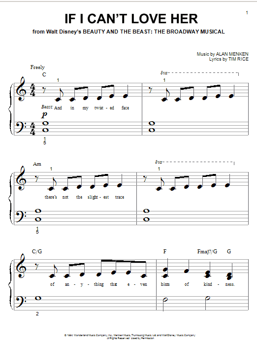 Alan Menken If I Can't Love Her sheet music notes and chords. Download Printable PDF.