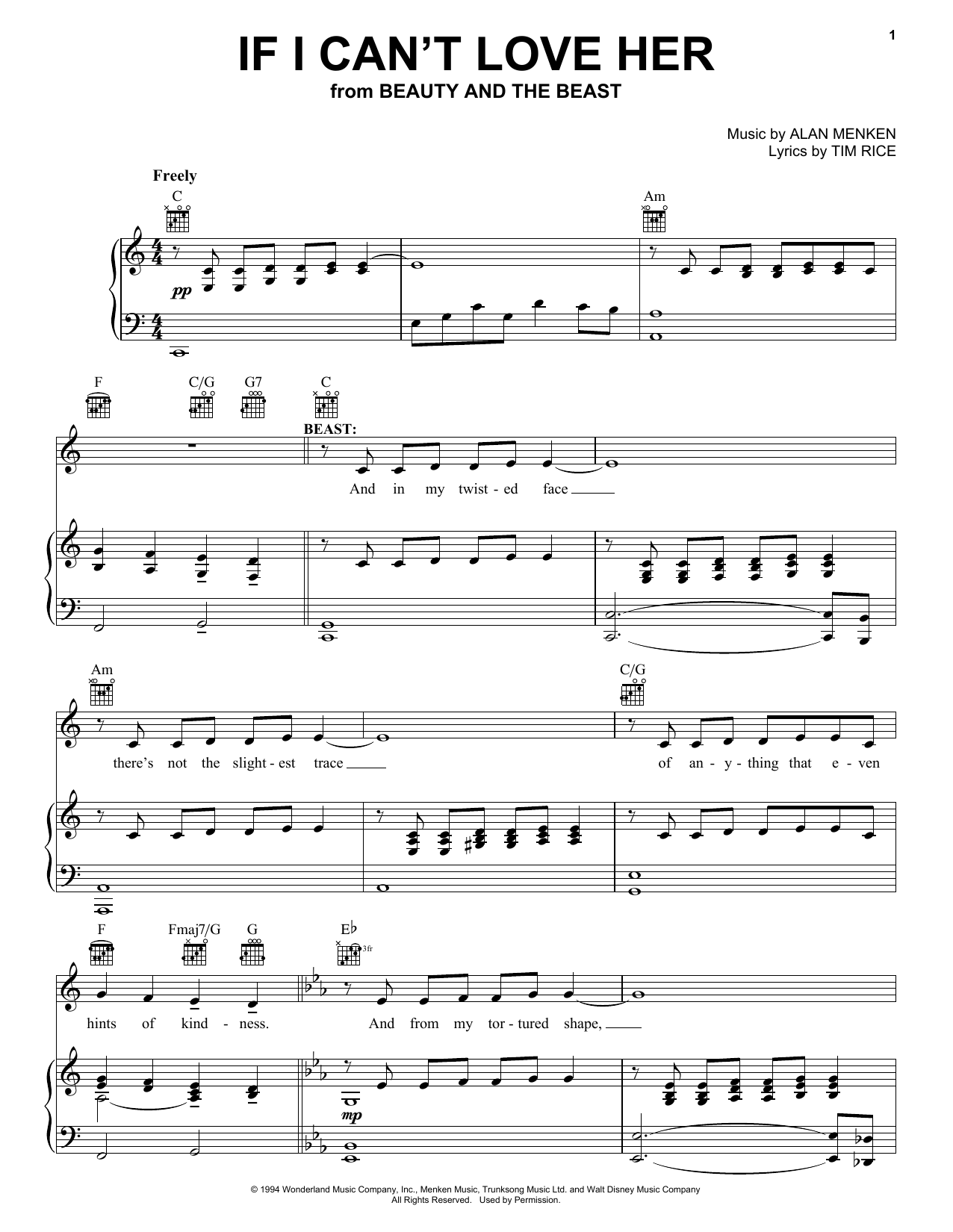 Alan Menken If I Can't Love Her (from Beauty and the Beast: The Musical) sheet music notes and chords