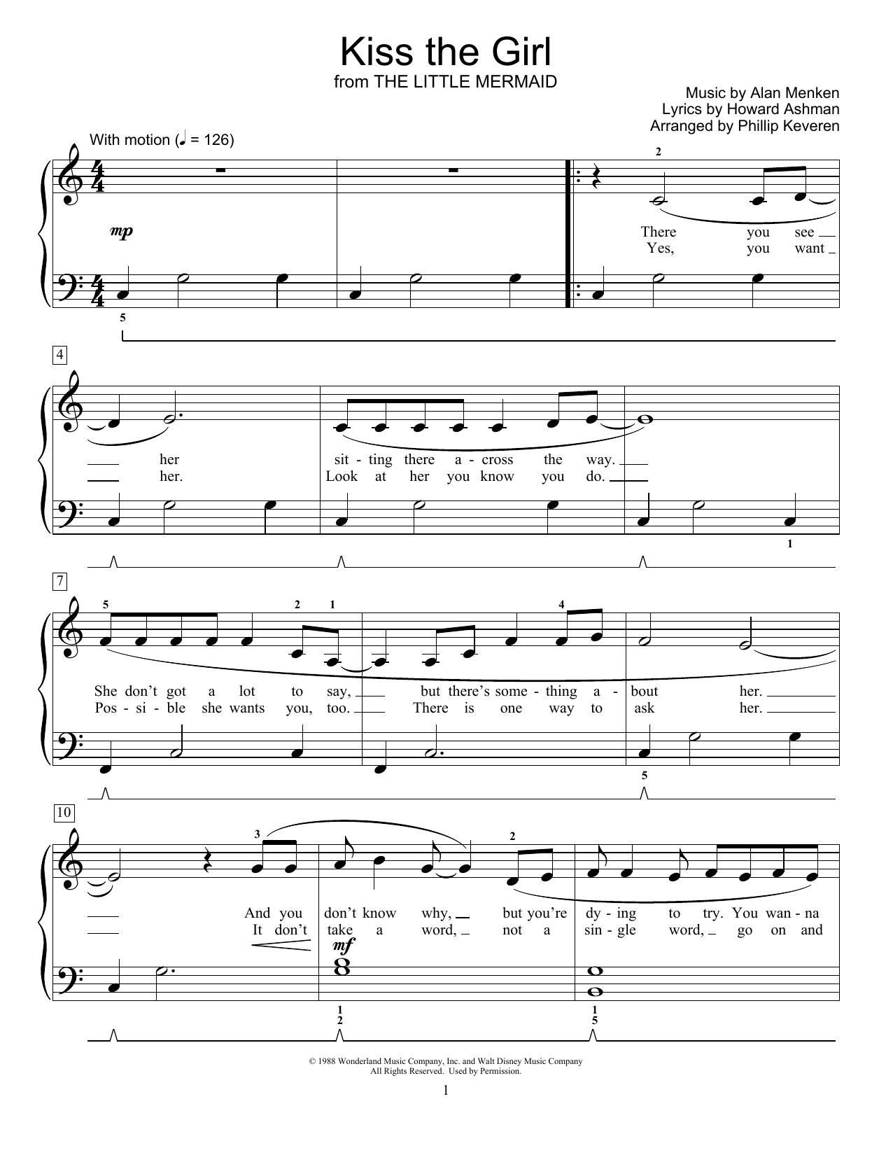 Alan Menken Kiss The Girl (from The Little Mermaid) (arr. Phillip Keveren) sheet music notes and chords. Download Printable PDF.