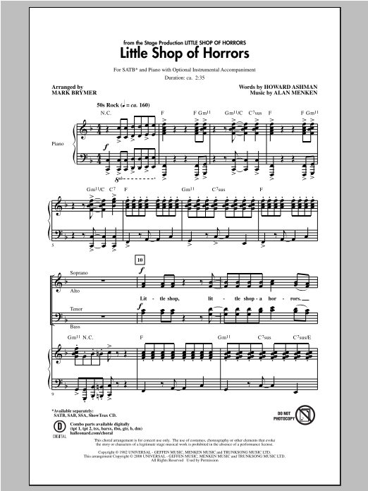 Alan Menken Little Shop Of Horrors (from Little Shop of Horrors) (arr. Mark Brymer) sheet music notes and chords. Download Printable PDF.