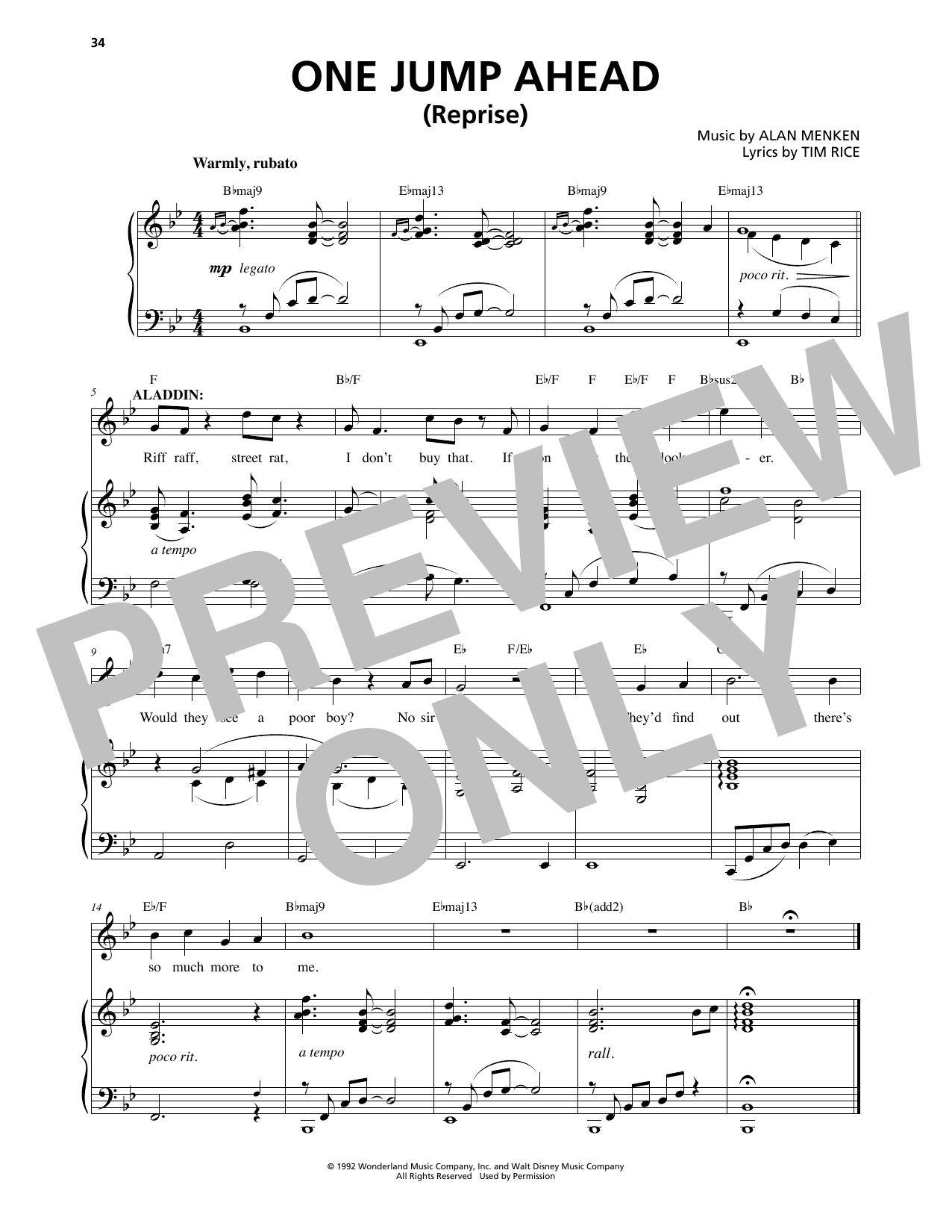 Alan Menken One Jump Ahead (Reprise) (from Aladdin: The Broadway Musical) sheet music notes and chords