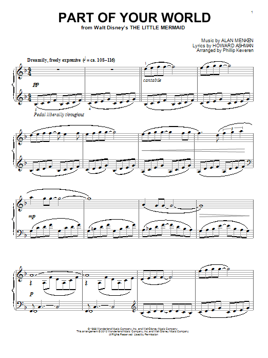 Alan Menken Part Of Your World [Classical version] (from The Little Mermaid) (arr. Phillip Keveren) sheet music notes and chords. Download Printable PDF.