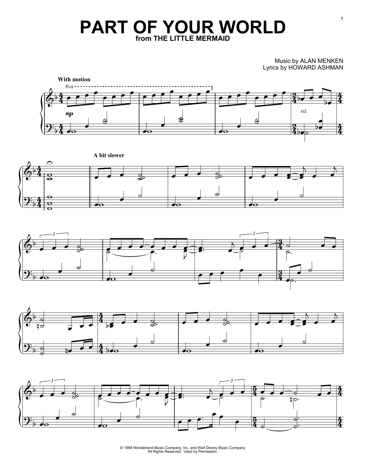 Alan Menken Part Of Your World sheet music notes and chords