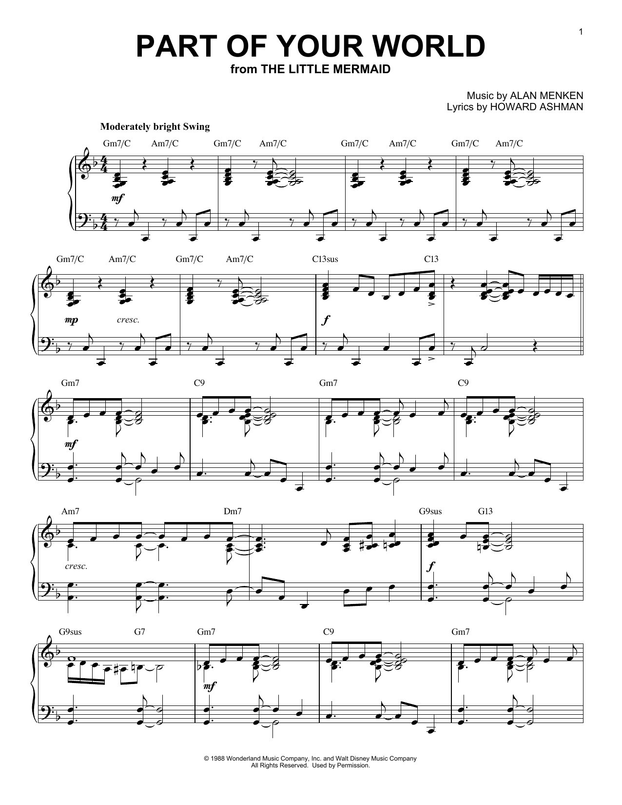 Alan Menken Part Of Your World [Jazz version] (from Disney's The Little Mermaid) sheet music notes and chords. Download Printable PDF.