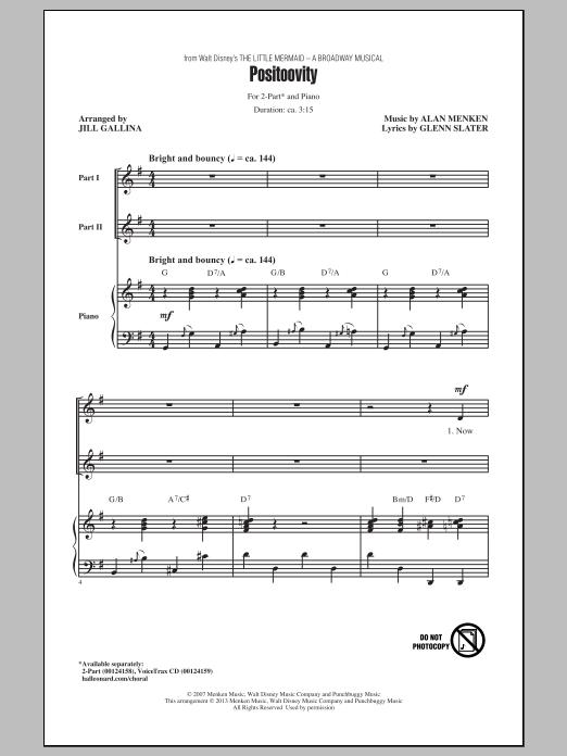 Alan Menken Positoovity (arr. Jill Gallina) sheet music notes and chords. Download Printable PDF.