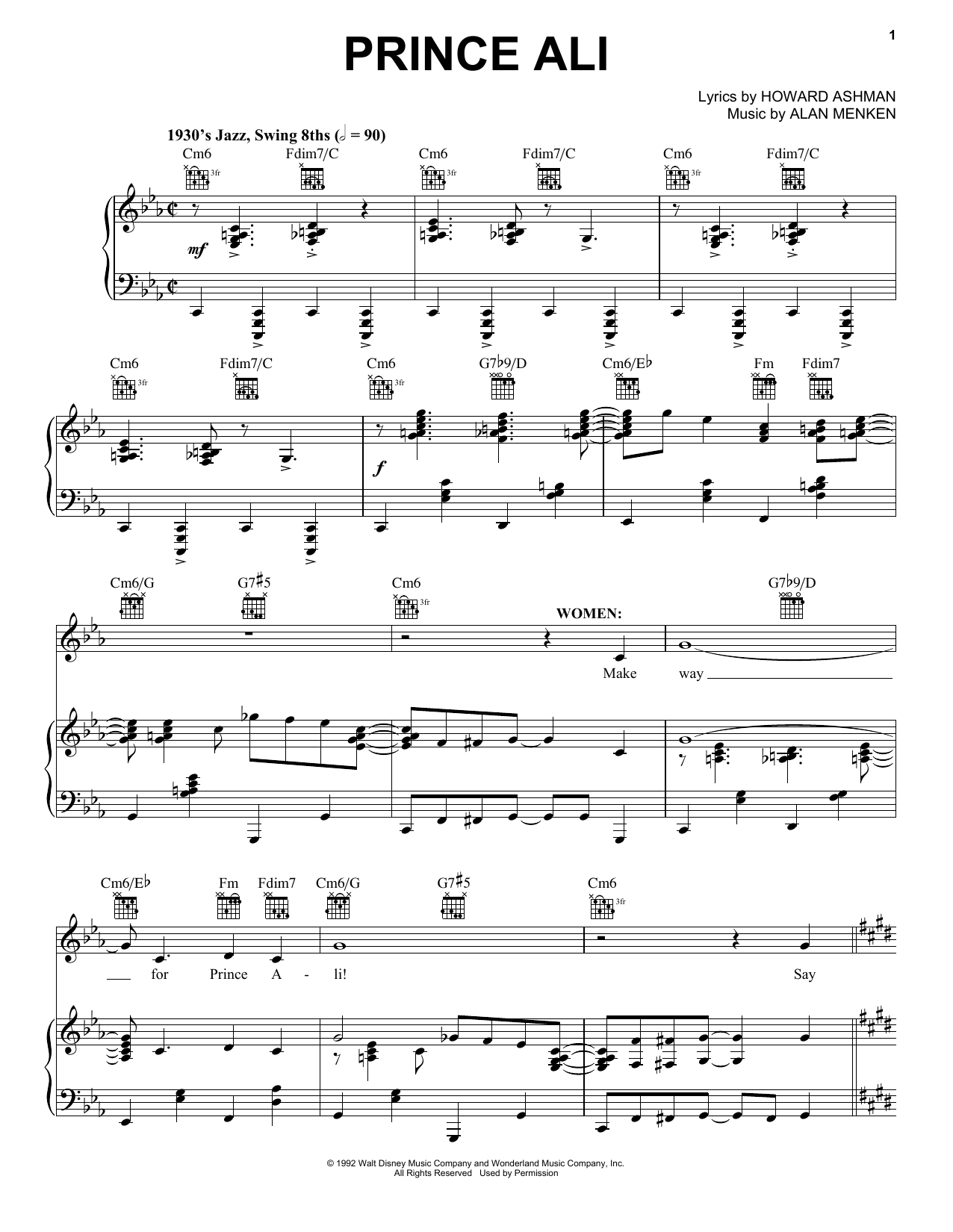 Alan Menken Prince Ali (from Aladdin: The Broadway Musical) sheet music notes and chords