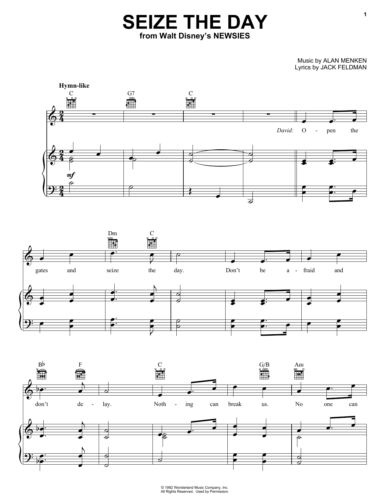Alan Menken Seize The Day sheet music notes and chords
