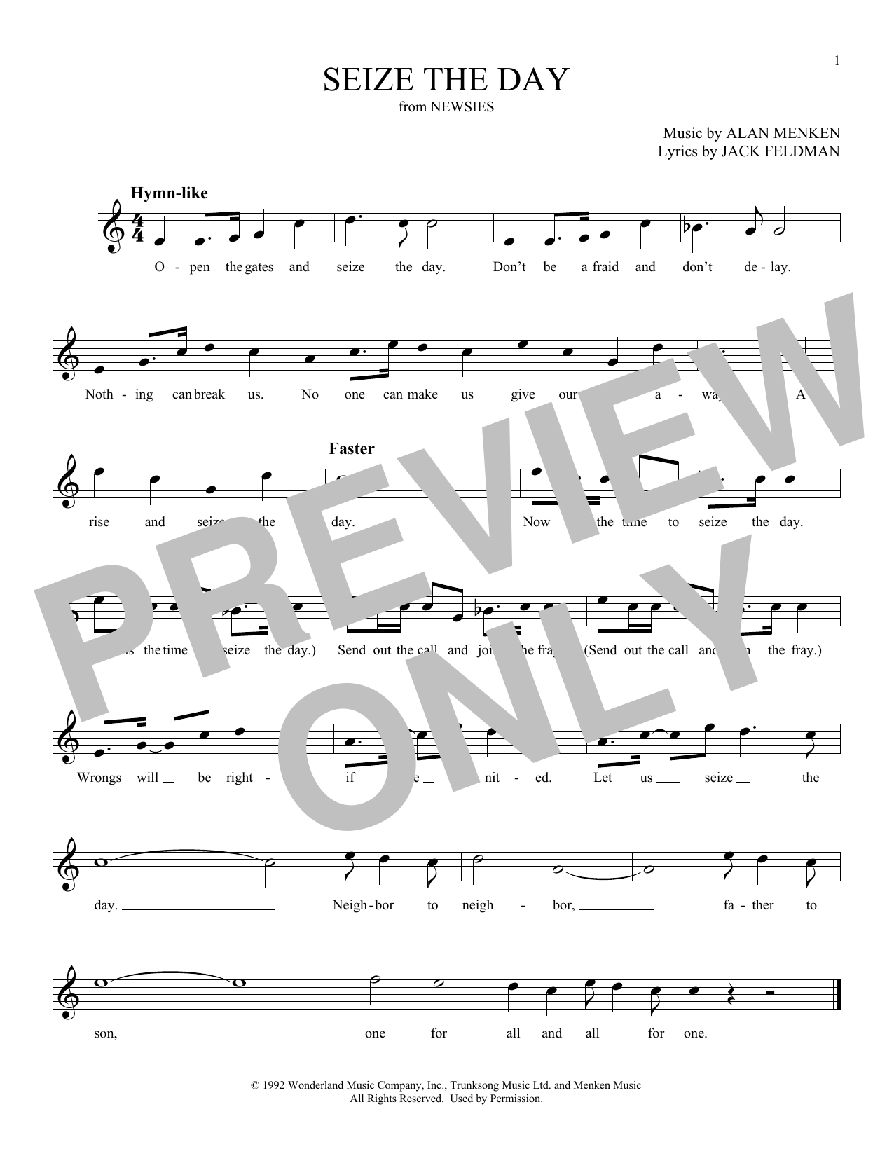 Alan Menken Seize The Day (from Newsies) sheet music notes and chords. Download Printable PDF.